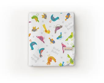 Birds Blanket / Birds - Name Blanket / Swaddle Blanket / Organic Baby Blanket / Organic Swaddle / Modern Baby Blanket