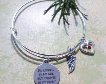 No Longer by My Side But Forever in My Heart ~ Adjustable Wire Bracelet w/Angel Wing & Heart w/Red Swarovski Heart ~ Adult or Child