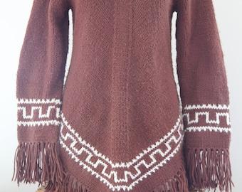 Unique Excellent Condition Indian Style Vintage 1970's HIPPY Knit Fringe Sweater