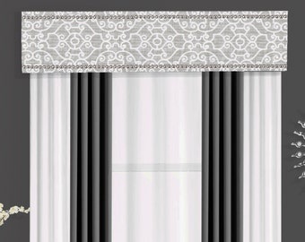 Custom Nailhead Cornice Board Pelmet Box Valance Window Treatment in Ramey Light Gray Fabric - Custom Curtain Box with Nail Head