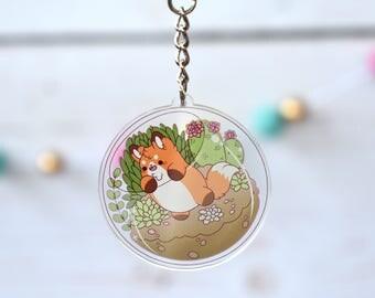 Kawaii Fox Terrarium Acrylic Charm Keychain