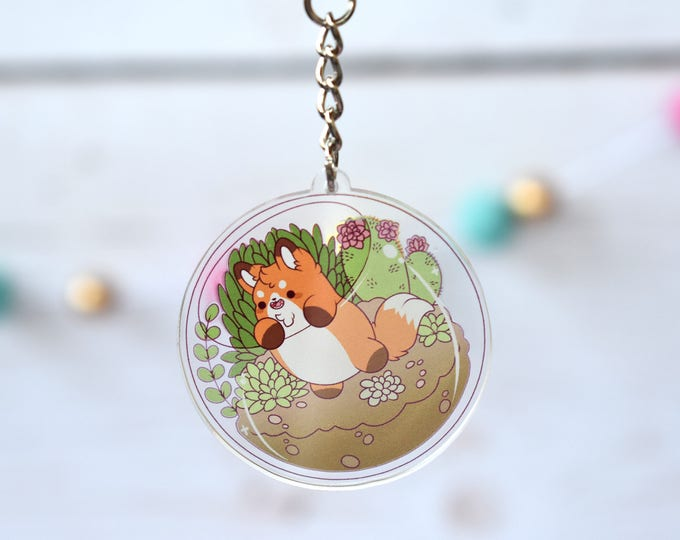 Featured listing image: Kawaii Fox Nugget Terrarium Acrylic Charm Keychain