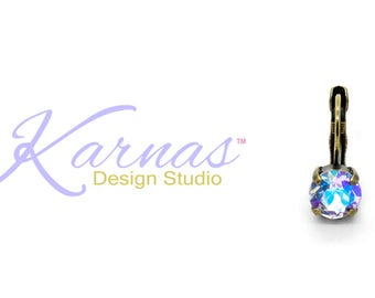 VIOLET SHIMMER 8mm Drop Leverback or Stud Earrings Made With Swarovski Crystal *Pick Your Finish *Karnas Design Studio *Free Shipping