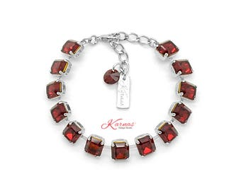 LUXURIANT IN RED 8-10MM Siam Emerald Cut Bracelet Made With Swarovski Crystal *Rhodium Silver *Karnas Design Studio *Free Shipping