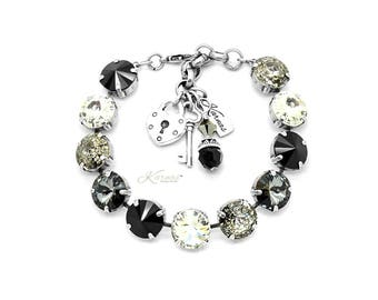 THE SOPHISTICATE 12mm Charm Bracelet Made With Swarovski Crystal *Choose Finish & Size *Karnas Design Studio™ *Free Shipping*