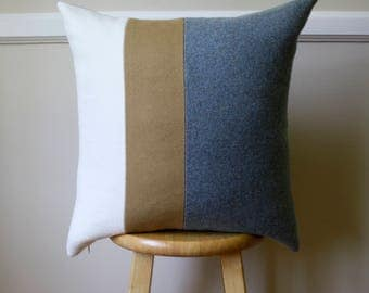 Gray, Tan, and Cream Wool Pendleton Pillow Cover - 20x20
