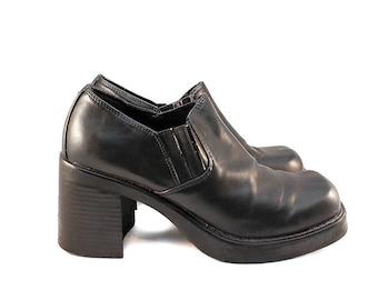 Size 8 Black Leather Platform Shoes - 90s Platform Heels Vintage 90s Shoes 8 Black Platforms 8 Black 90s Shoes Black Platform Heels Daria