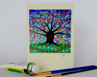 Art Nouveau Tree of Life Heart Pagan Greeting Card  Psychedelic Sky Folk and Mindfulness Art