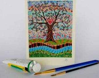 Valentine's Tree of Life with Greetings Card Art Nouveau Mosaic Effect Tree of Love