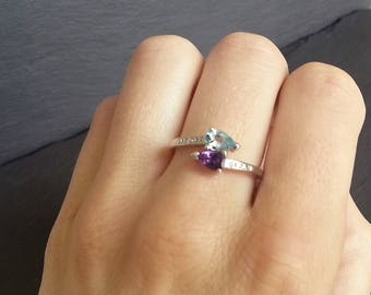 Twin Topaz and Amethyst Diamond Engagement Ring
