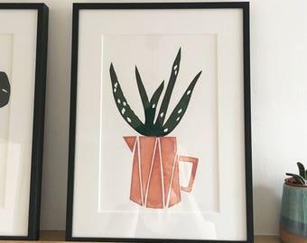 Aloe Plant in Jug, screen print, original artwork, A4 sized, plant print, potted plant, aloe vera, indoor plant, framed or unframed