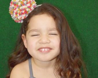 Pom Pom Headband, Pom Pom Hair Accessory, Girl's Accessories, Easter, Spring Accessory
