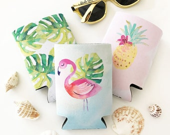 Tropical Can Coolers Bridesmaid Can Coolers Bridesmaid Coozies Tropical Bridesmaid Gift Pineapple Can Cooler Flamingo Can Cooler (EB3255TPB)
