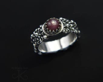 The kiss of elf- silver ring with ruby, unique jewelry, handmade, fine jewelry, pmc jewelry