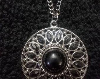 Black & Pewter Medallion Pendant Necklace