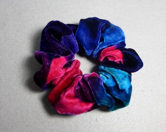 "Velvet Hair Scrunchie Purple, Fuchsia, and Blue ""Jewel Colors"", Hand Painted Rayon/Silk Velvet Scrunchie"