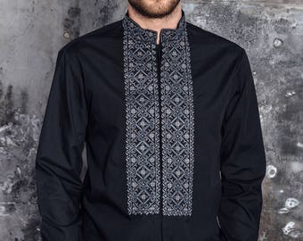 Men embroidered shirt, Ukrainian Embroidered Shirt, slim fit, man ethic clothing, чоловіча вишиванка, Embroidered Black Shirt, Ukrainian