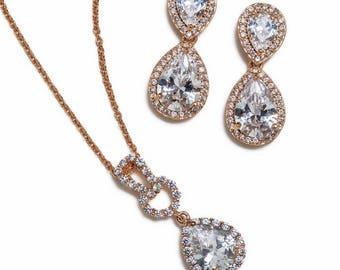 Wedding Jewelry Drop Earrings Wedding Earrings Bridal Wedding Jewelry Set Rose Gold Necklace and Earring Set E340-RG