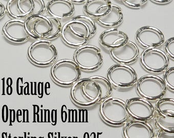 Sterling SIlver 6mm Open Jumpring, 20 pieces, 925, 18 Gauge