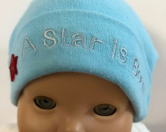 "15 inch Bitty Baby Doll Hat, Cute ""A STAR is BORN"" Blue Doll HAT, 15 inch Bitty Baby Clothes or Twin Doll, 15 inch Baby Doll Clothes"