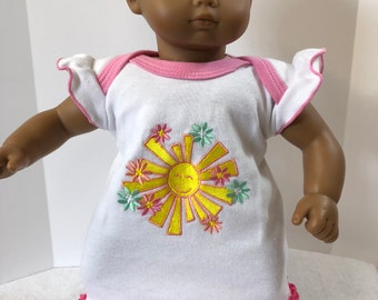 "15 inch Bitty Baby Clothes, Cute ""SUNSHINE & FLOWERS"" Dress, 15 inch AG Doll Bitty Baby or Twin Doll, Ready for Summer Fun or the Beach!"