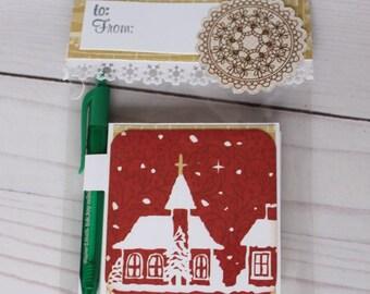 Christmas Post it Note Holder, Teacher Gift, Stocking Stuffer