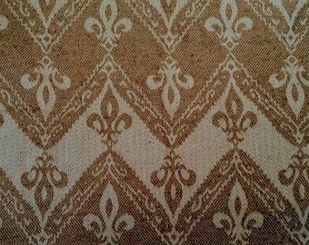 "Fleur De Lis Chevron Jacquard Fabric in Camel Beige Upholstery Designer Fabric - Home Textile 25.5x 17"" / 65x43cm DIY Craft Cushion Bag"