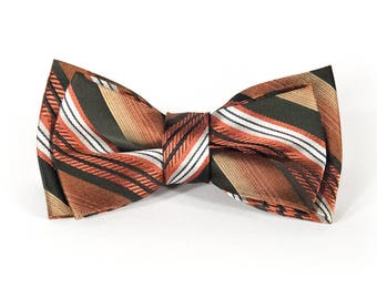 Bowtie - red silk with black, white & yellow stripes - pre-tied - classy gentleman - groom - unique