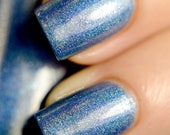 Penumbra - Denim Blue Holographic Polish with Real Silver Shimmer