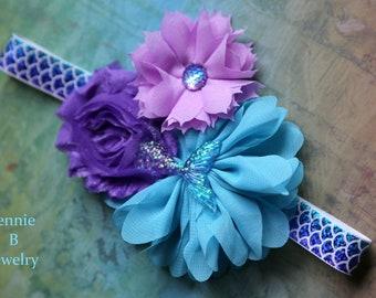 Purple & Blue Mermaid Tail Headband - 1/2 Birthday Photo Shoot - Little Girl headband -1st Birthday girl