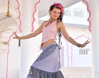 LONG GYPSY SKIRT, wraparound lilac and grey boho skirt, lace skirt, bohemian Goa skirt, boho clothing