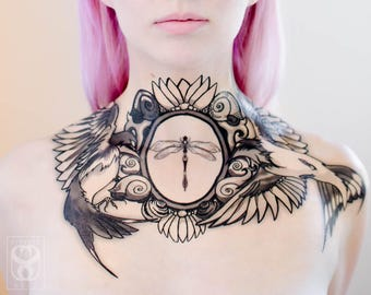 Swallows in Flight Chest Piece - multiple center design options