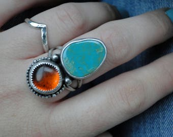 Turquoise and Amber Ring, Baltic Amber, Nevada Turquoise, Sterling Silver, Turquoise Ring, Natural Turquoise, Genuine Amber, Size 7