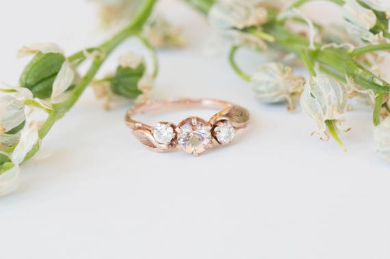14k gold morganite leaf engagement ring, morganite and moissanite three stone twig engagement ring, rose gold twig engagement ring