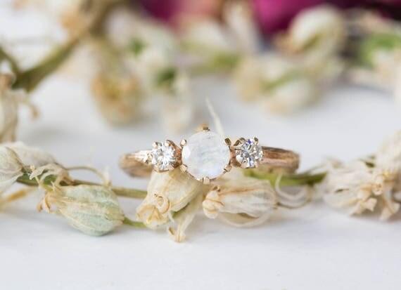 14k gold moonstone moissanite engagement ring, twig nature moissanite engagement ring, twig ring