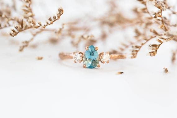 Ready to ship 1 week- Aquamarine pear moissanite 14k gold twig engagement ring,aquamarine engagement ring, three stone engagement ring