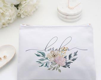 Floral Monogram Makeup Bag Personalized Bridesmaid Toiletry Bag, Pale Pink Custom Cosmetic Bag, Personalized toiletry bag, pencil bag