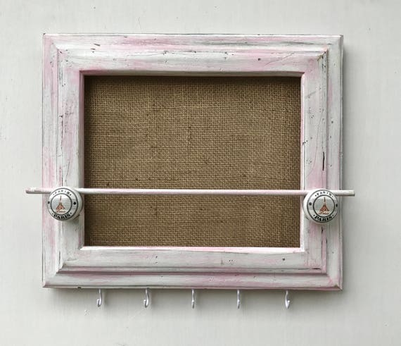 Jewelry organizer holder pink shabby chic wood repurposed for Repurposed jewelry holder