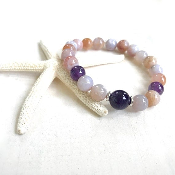 Amethyst & Crazy Lace Agate Bracelet, Match Your Mala Beads, Yoga Jewelry, Stretch Bracelet, Natural Stone Jewelry