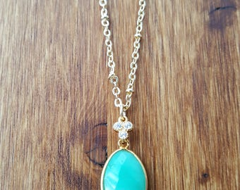 Gold Filled Green Chrysoprase CZ Stone Necklace / Faceted Chrysoprase / Bezel stone / Cubic Zirconia / Green Chrysoprase / Stone Jewelry