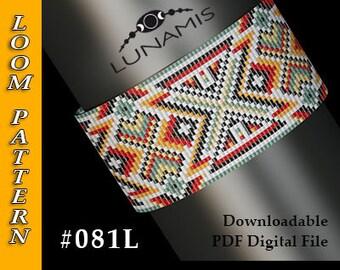 loom bracelet pattern, loom pattern, loom stitch, square stitch pattern, beading pattern, pdf file, pdf pattern, cuff, #081L