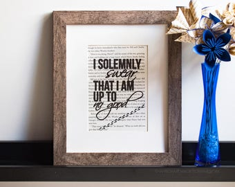 I Solemnly Swear That I Am Up to No Good - Marauders Map Quote - Harry Potter - Book Page Print - Wall Art
