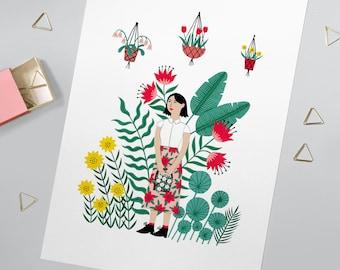 A4 Summer Garden Print | Girl gardening wall art | Illustration home decor | Botanical painting | pretty gift | flower pattern lady | poster