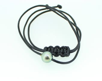 Tahitian Pearl Pendant on 1.5MM Leather Cord Pendant Surfer Necklace 12-13MM Authentic