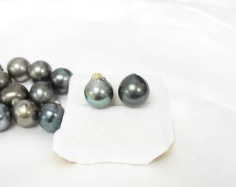 SUPER SPECIAL BIG 13-14mm Tahitian Pearls - Large Drop - Grey Black Green Mix - Wholesale