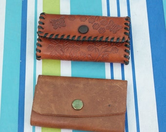 Vintage Set Of Two Leather Key Holders