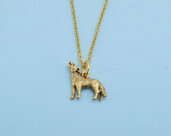 """Wolf  necklace in gold plated pewter on a 16"""" gold plated cable chain.  Wolf necklace.  Wolf pendant.  Wolf jewelry."""