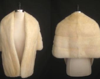 Ivory White MINK Fur STOLE Cape Wrap Capelet Coat Jacket ~ Winter Wedding ~ Bridal ~ Blonde Cream