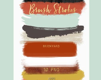 Brush Strokes Clip Art. Brickyard. Brick red, deep red and soft mint green , ground  palette. Watercolor clipart. Digital Design Resource