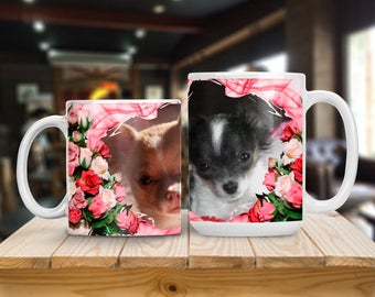 Personalized Photo Mug, Pink Roses Photo Cup, Photo Picture Mug, Gift for Mother Grandmother Sister or Best Friend, Thank You Gift